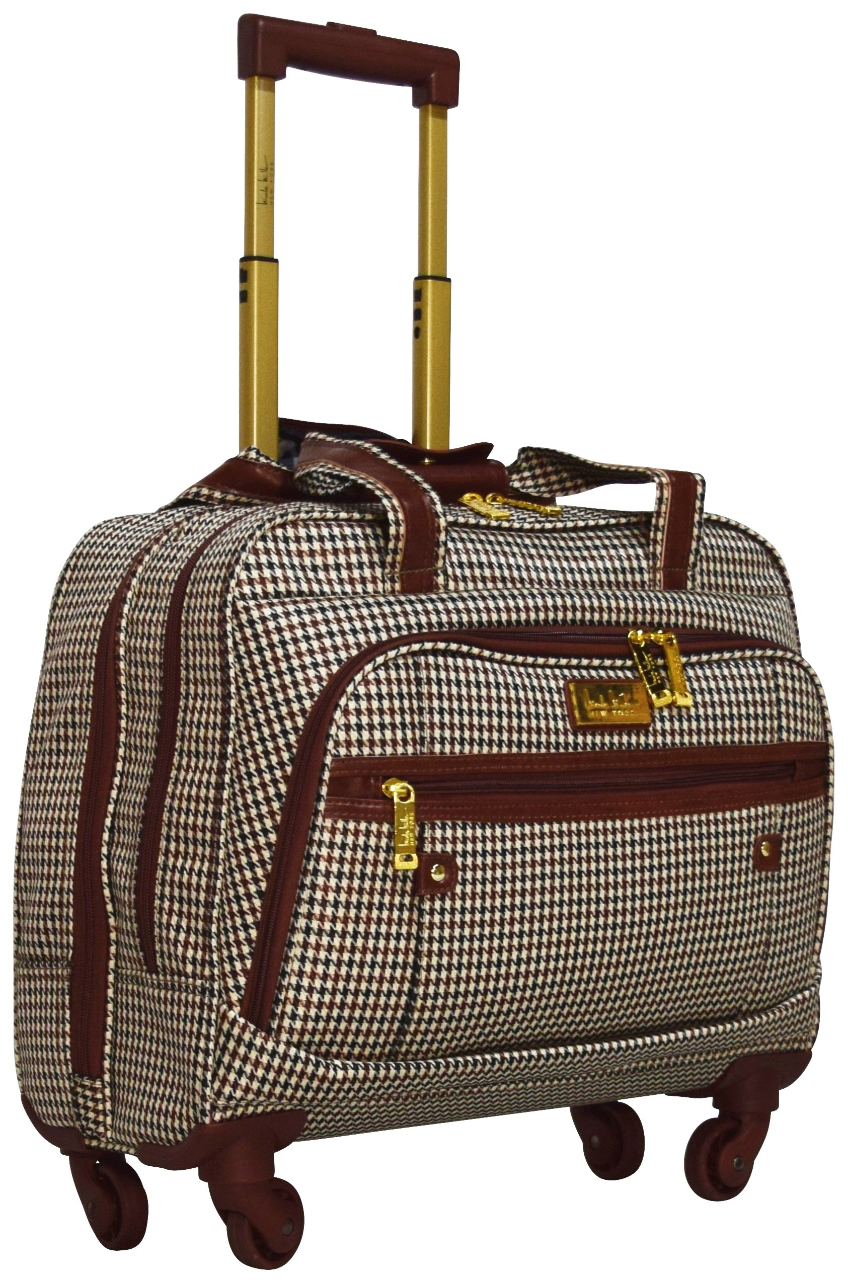 Nicole Miller New York Taylor Carry On Spinner Briefcase (Brown Plaid)