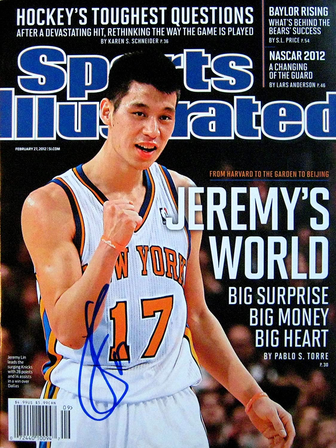 cb95fbfca7b Jeremy Lin NY Knicks autographed Sports Illustrated magazine 2 27 12 at  Amazon s Sports Collectibles Store