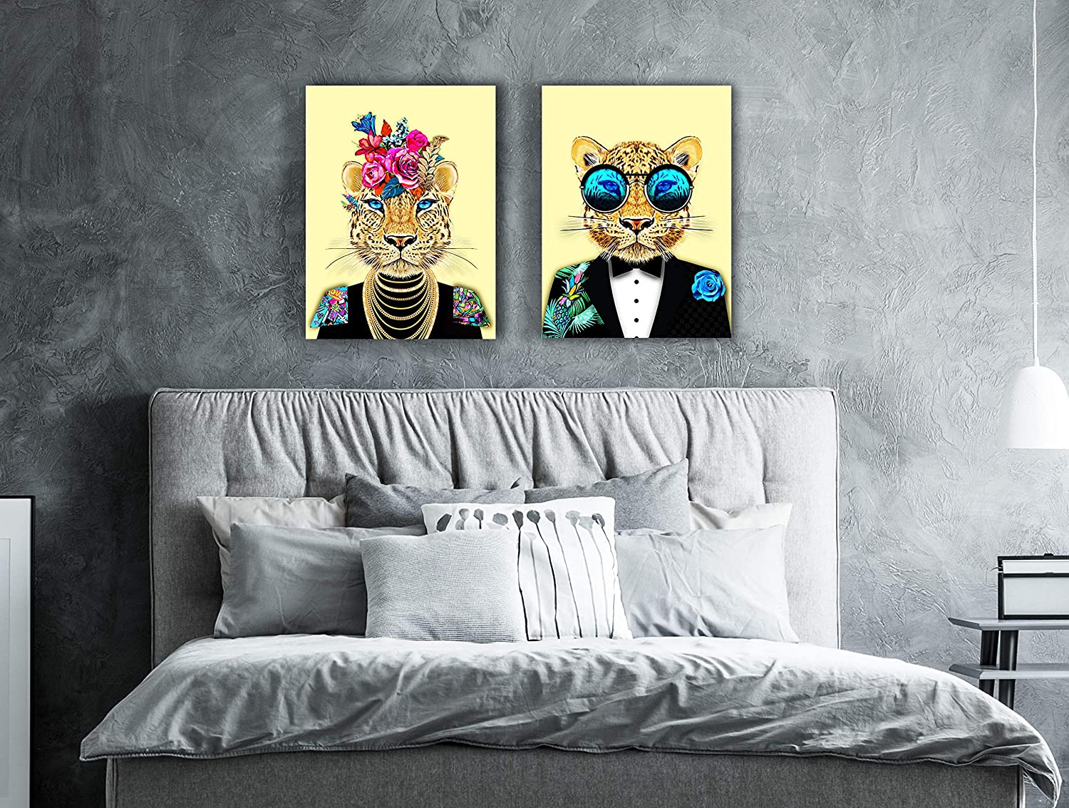 "Framed Canvas Wall Art - Suited Leopard Boho Wall Pictures Prints for Home Wall Room Decor - Artwork Paintings Set for Living Room Bedroom and Kitchen (11.8"" x 15.75"" x2 Panels, Yellow Leopard)"