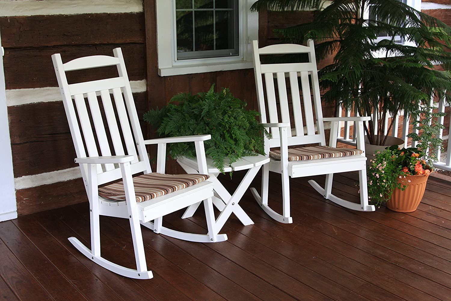 Amish outdoor rocking chairs - Amazon Com Outdoor Poly Classic Rocking Chair Amish Made Usa Bright White Kitchen Dining