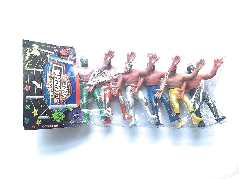 Mexican Plastic Wrestlers 4 assorted colors Pack of 6 6 Luchadores de plastico en varios colores