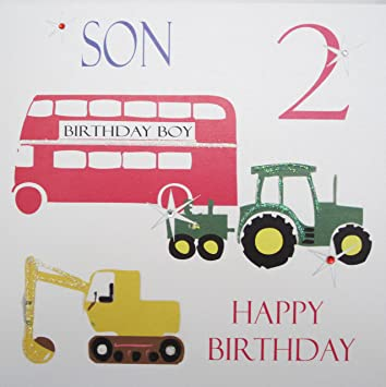 WHITE COTTON CARDS Son 2 Happy Handmade Boys 2nd Birthday Card Bus Tractor