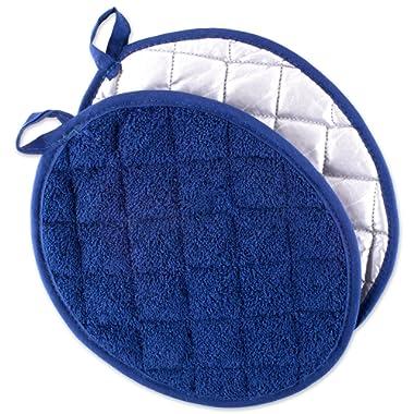 DII Everyday Kitchen Basic Oval Terry Pot Holder (Set of 2), 9.5 x 7.5 , Nautical Blue