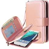 Google Pixel XL case, E LV Google Pixel XL Case Cover - PU Leather Flip Folio Wallet Purse Case Cover for Google Pixel XL - [ROSE GOLD]