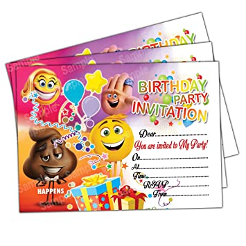Invitations 20 X Emoji Kids Birthday Party Invites Cards Quality Girls Boys