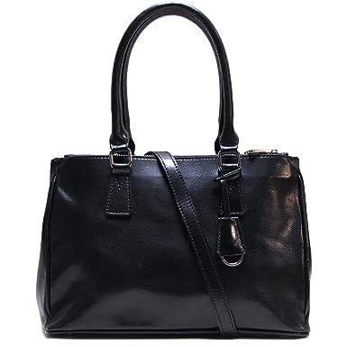 Roma Leather Satchel Shoulder Bag in Black: Handbags: Amazon.com