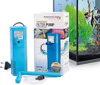 Aquaflow Technology® AIF-611M - Bomba de filtro para acuario sumergible para agua dulce y salada. Para tanques de acuario de hasta 100 litros. 450L/H 6W: Amazon.es: Jardín