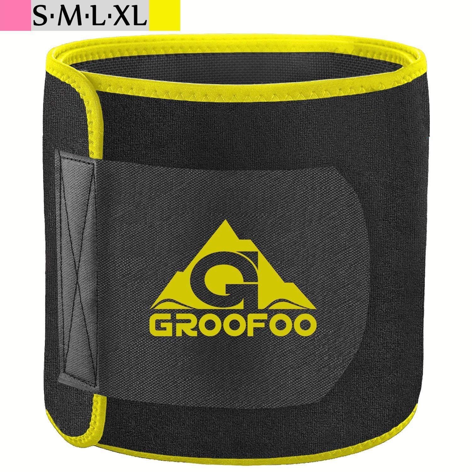 GROOFOO Waist Trimmer Belt, Adjustable Waist Trainer Band Belly Weight Loss Wrap for Women & Men, Stretchy Material, Powerful Velcro - Yellow/M