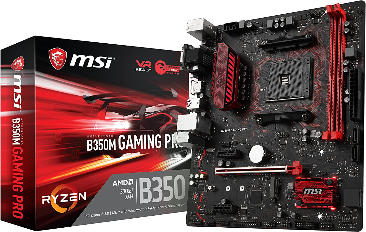 MSI Gaming AMD Ryzen B350 DDR4 VR Ready HDMI USB 3 CFX micro-ATX Motherboard (B350M GAMING PRO)
