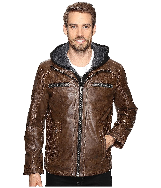 [スカーリー] メンズ コート Karl Leather Jacket with Zip Out Hoodie [並行輸入品] B01MQWP0ET Medium