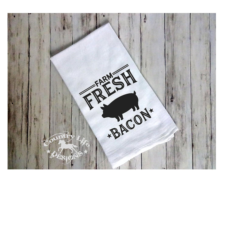 Farm fresh bacon flour sack tea towel