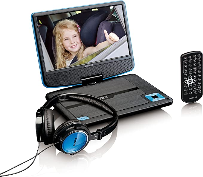 Lenco Tragbarer Dvd Player Dvp 910 9 Zoll 22 5 Cm Mit Drehbarem Display Und Integriertem Akku Usb Av Ausgang Netzadapter Kopfhörer Blau Heimkino Tv Video