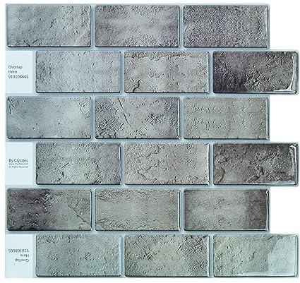 Crystiles Peel And Stick DIY Backsplash Tile Stick On Vinyl Wall Tile,  Perfect Backsplash