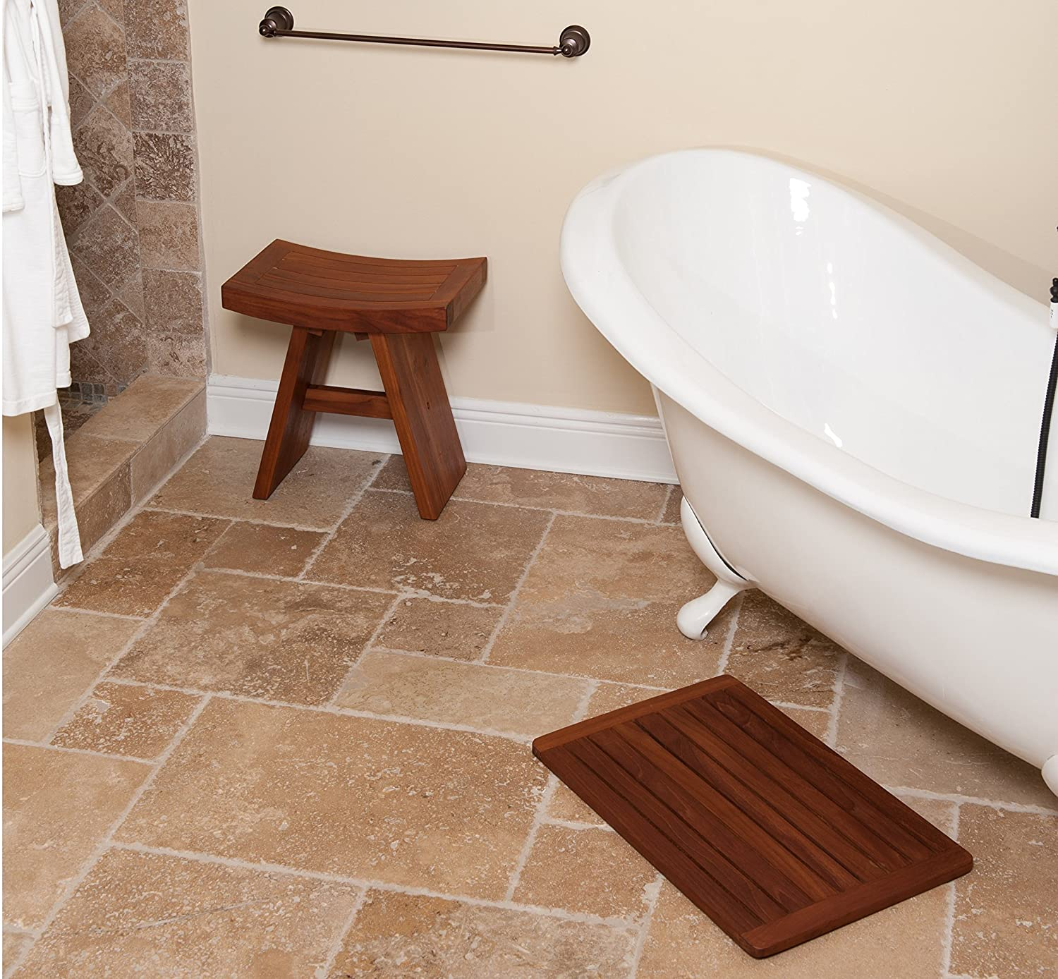 . Amazon com  The Original Spa Teak Bath   Shower Mat  Home   Kitchen