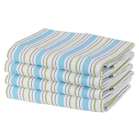 Toallas de cocina SweetNeedle, azul lavanda - Paquete de 4 - 100% algodón,