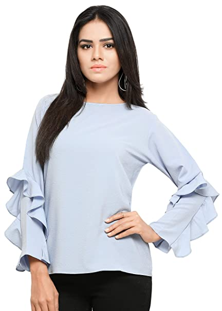 3fcdf8b4d0d4b6 Serein Women s Crepe Georgette Top (Blue Soft Crepe top with Full Sleeves  and Ruffles)