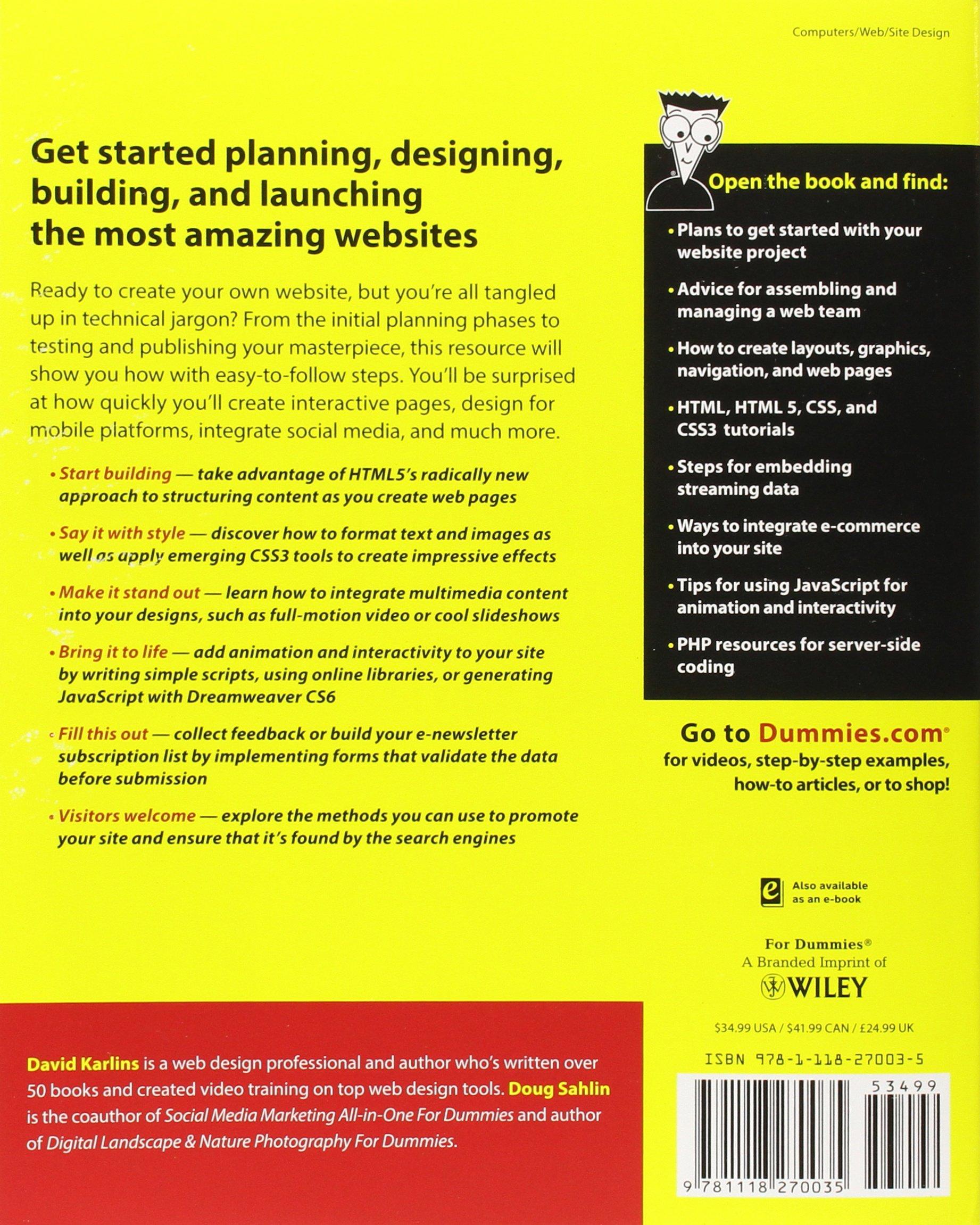 Building Websites Allinone For Dummies, 3rd Edition: Amazon: David  Karlins, Doug Sahlin: 9781118270035: Books