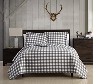SL Spirit Linen Home EST. 1988 Holiday Collection Quilt Set - Ultra-Soft, Reversible Coverlet Bedding - Oversized Quilt with Matching Pillow Shams, Twin, Grey & White