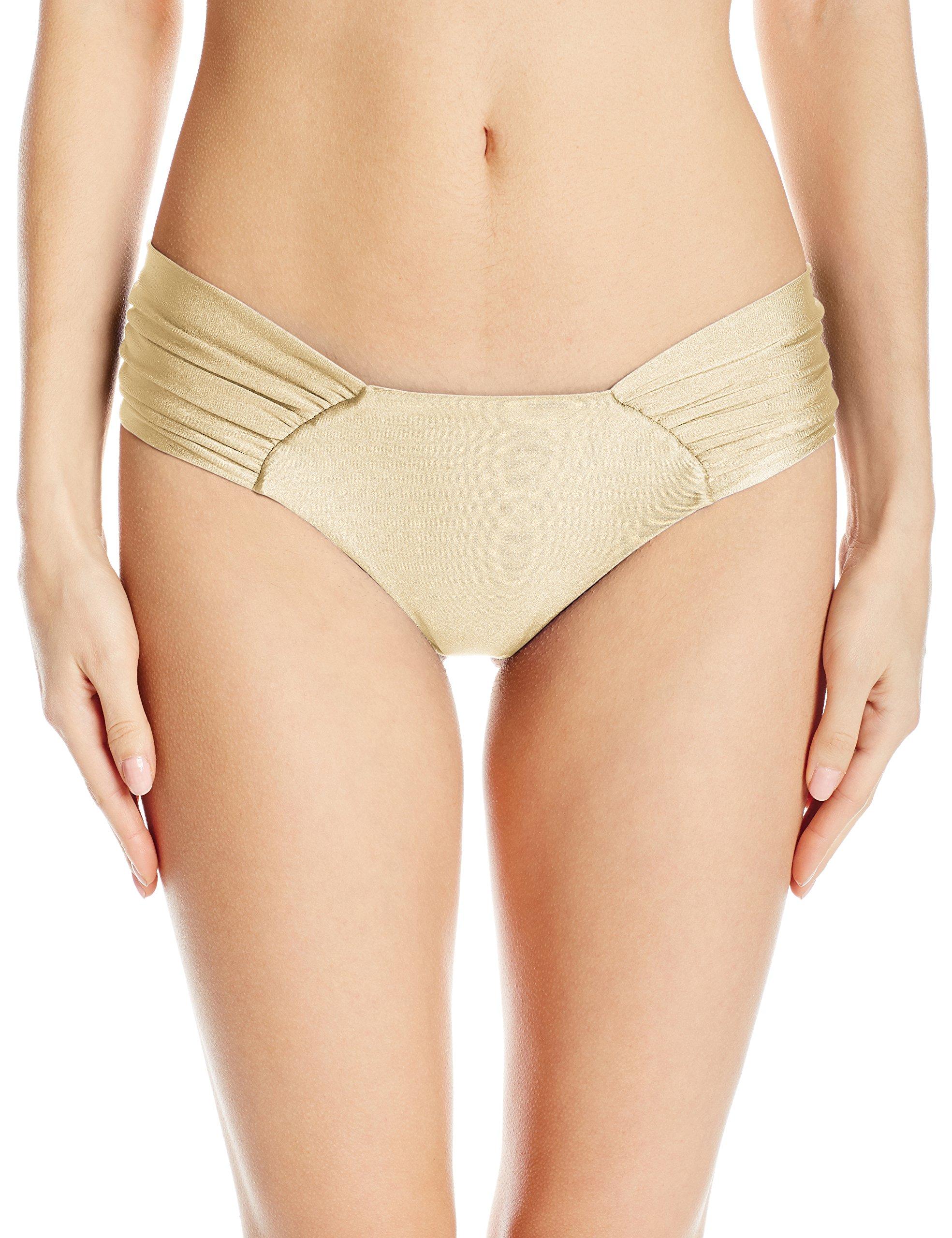 Luli Fama Women's Cosita Buena Ruched Back Bikini Bottom, Gold Rush, XS
