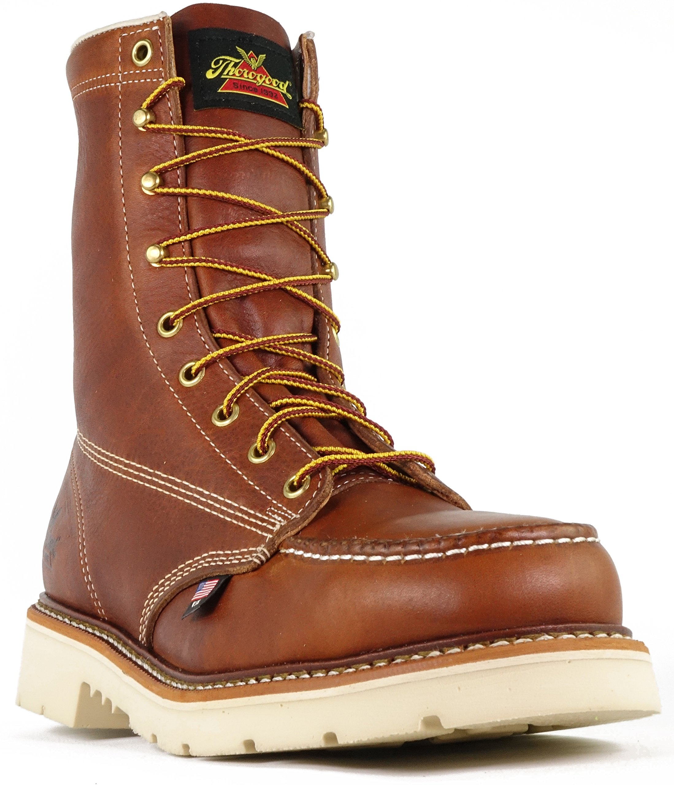 Thorogood 804-4308 Men's American Heritage 8'' Moc Toe, MAXWear 90 Safety Toe Boot, Tobacco Oil-Tanned - 11 D(M) US