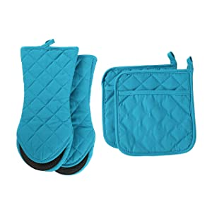 ARCLIBER Oven Mitts and Pot Holders,4PCS Heat Resistant Kitchen Gloves,Cotton Lining Neoprene Non-Slip Rubber Surface 2 Oven Mitts,2 Pot Holders for Cooking,Baking,Grilling,Barbecue,Blue