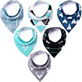 Baby Bandana Drool Bibs - Cute Kids Design for Boys, 100% Organic Cotton for Drooling and Teething, Perfect Baby Registry Gift for Infant and Newborn by KiddyByte