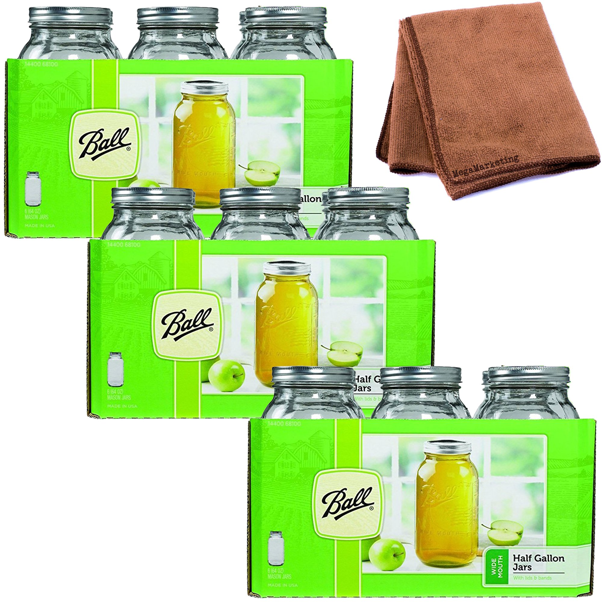 Ball 64 ounce Jar, Wide Mouth, Set of 18 with Cleaner Cloth