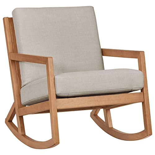 Stone Beam Modern Hardwood Rocking Chair, 24.5 W, Light Gray
