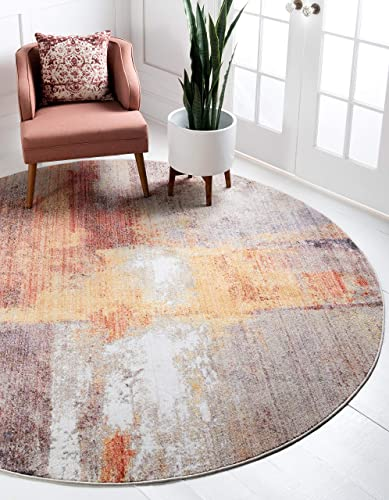 Unique Loom Downtown Collection by Jill Zarin Collection Abstract Modern Vintage Warm Watercolor Pastel Tones Multi Round Rug 8 0 x 8 0