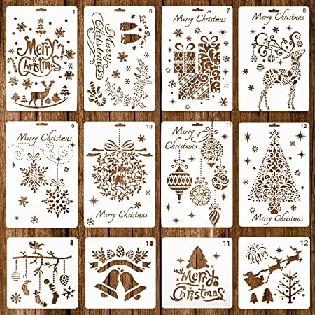 Healifty Christmas Drawing Painting Stencils Walls Painting Paper Card Template 12pcs