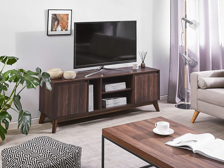 Beliani TV-M/öbel Fernsehschrank Mid-Century Retro dunkler Holzfarbton Oakland