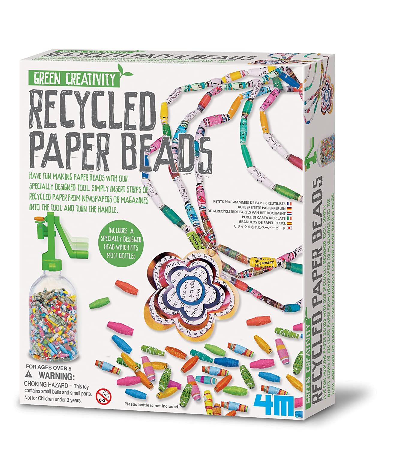 Make Your Own Recycled Paper Beads Fashion Jewellery - Creative Jewellery Making Kit - Great Creative - Present Gift Idea For Easter Arts & Crafts Age 5+ Children Kids Boys Girls Green Creativity