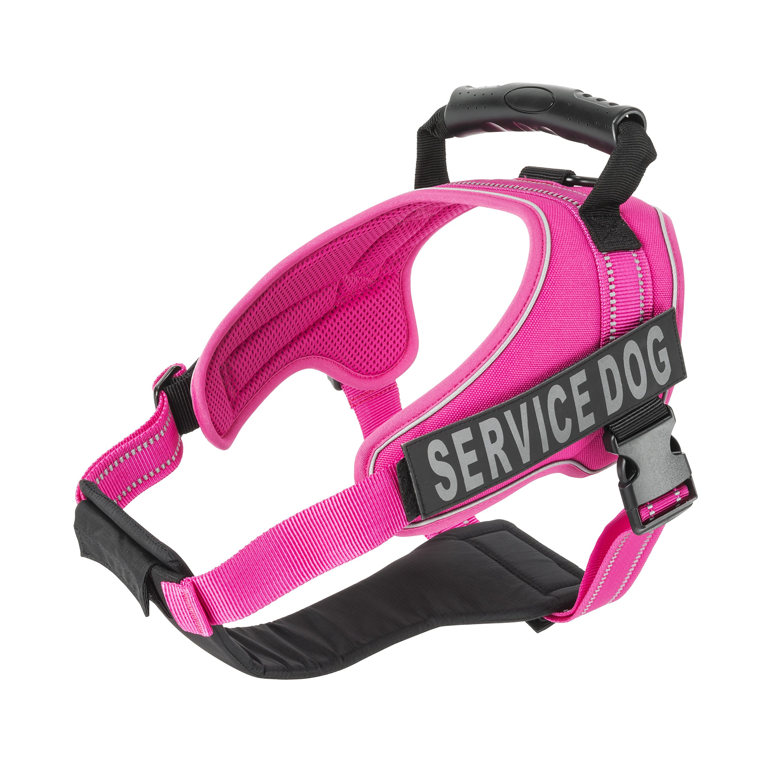 Service Dog Vest Harness - Military Grade Assistance Dog Harness with Removable Reflective Patches - Comfortable & Safe - Handle for Maximum Training, Walking Control - Free ADA eBook(XS, Pink)