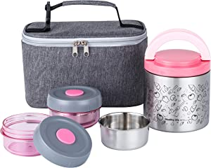 Lille Home Lunch Box Set, An Vacuum Insulated Lunch Box Keeping Food Warm for 4-6 Hours, Two BPA-Free Food Containers, A Lunch Bag (Pink)