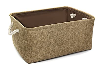 Familion Fabric Storage Basket Rectangular 16.5u0026quot; X 12.5u0026quot; Large  Decorative Basket For Shelf Rectangle