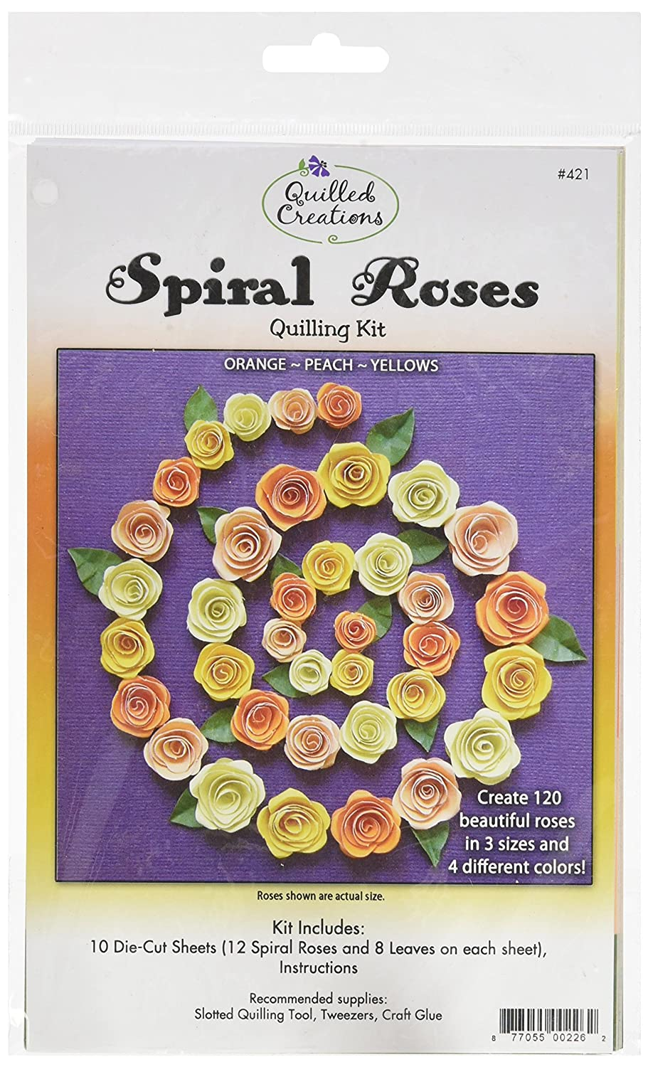 Quilled Creations QC421 Spiral Roses Quilling Kit, Orange/Peach/Yellow Notions - In Network