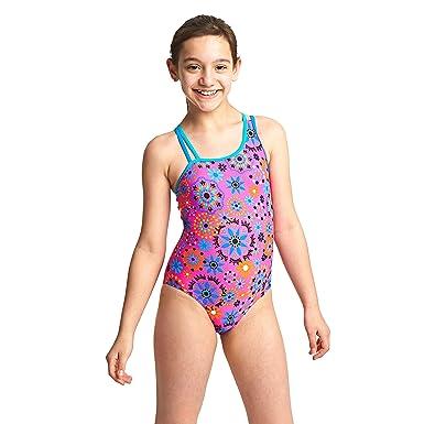 3727534e3b Zoggs Girls' Folk Tale Crossback Swimsuit, Pink/Multi-Coloured, 6-