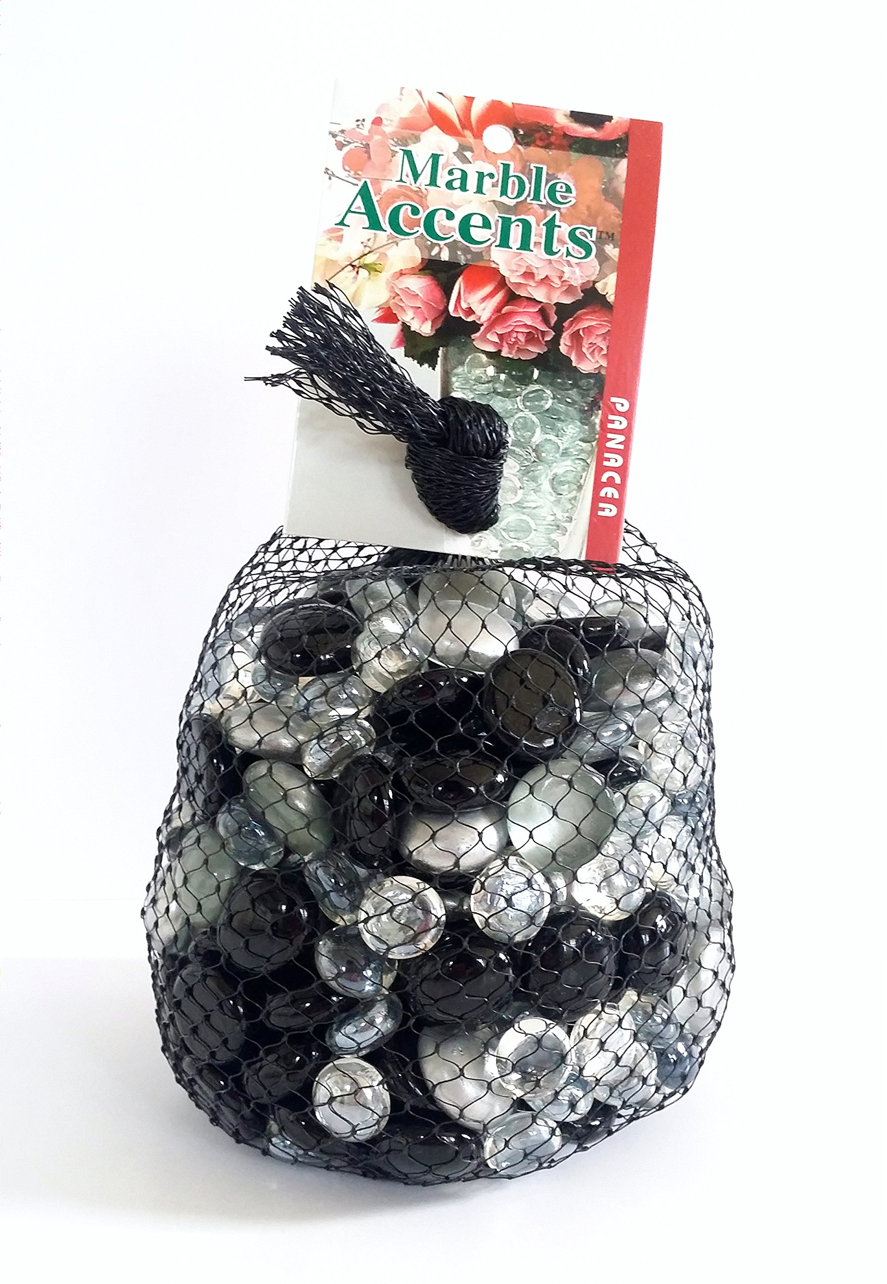 Panacea Products Marble Accents Aquarium Decorative Glass Gem Marble, Black, Silver & Clear, 3lb