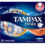 Tampax Pearl Plastic Tampons, Super Plus Absorbency, Unscented , 36 count , Pack of 2