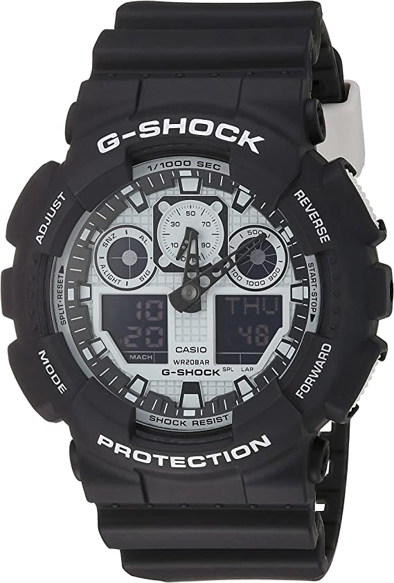 Casio G-Shock GA-100BW-1A White and Black Series Luxury Watch - Black/One Size