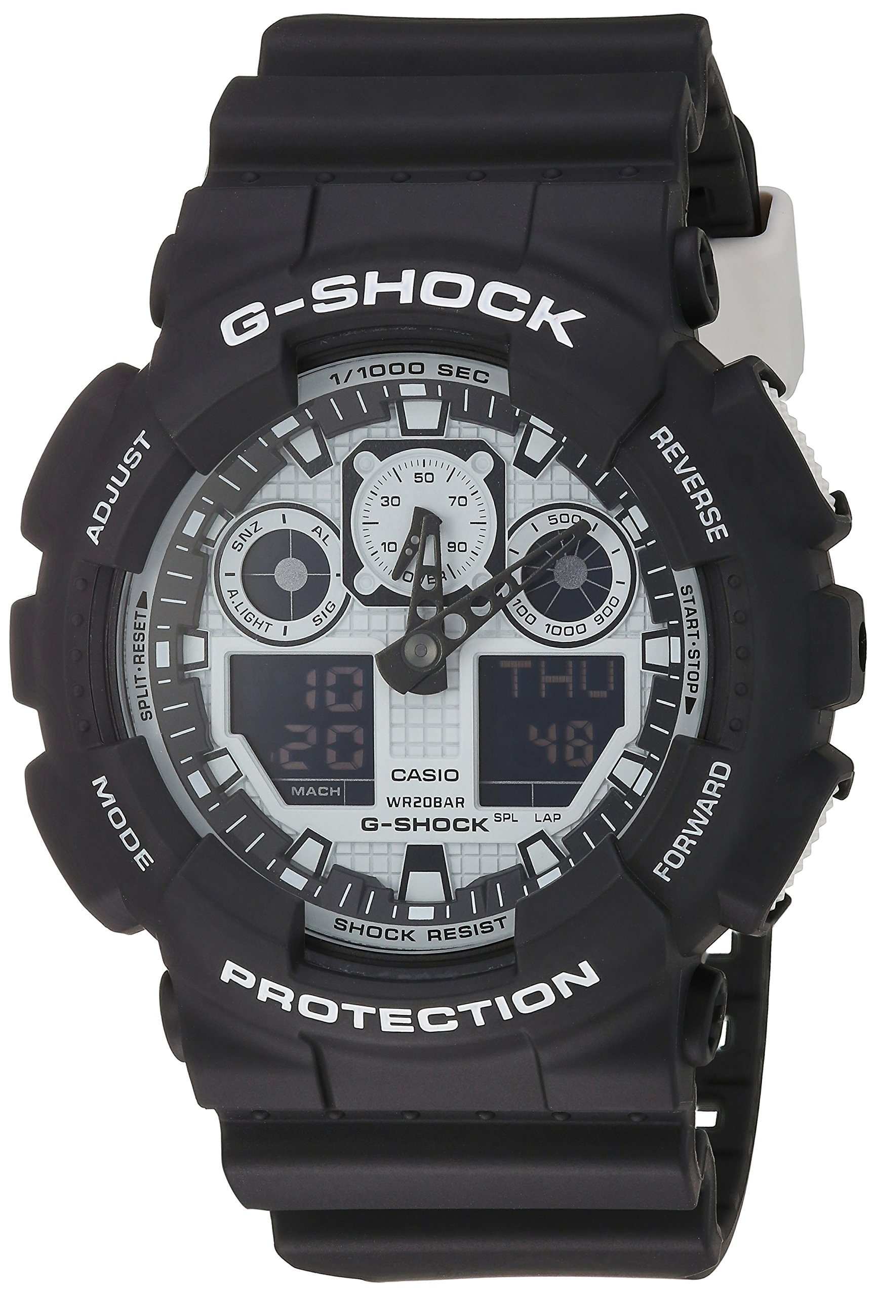 G-Shock GA-100BW-1A White and Black Series Luxury Watch - Black / One Size