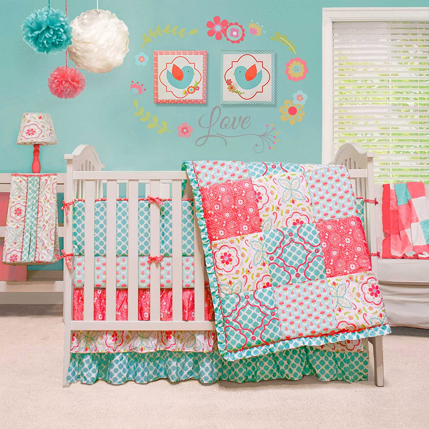 Mila Coral and Blue Floral Patchwork 4 Piece Baby Girl Crib Bedding by Peanut Shell Farallon Brands BSPS-MIL
