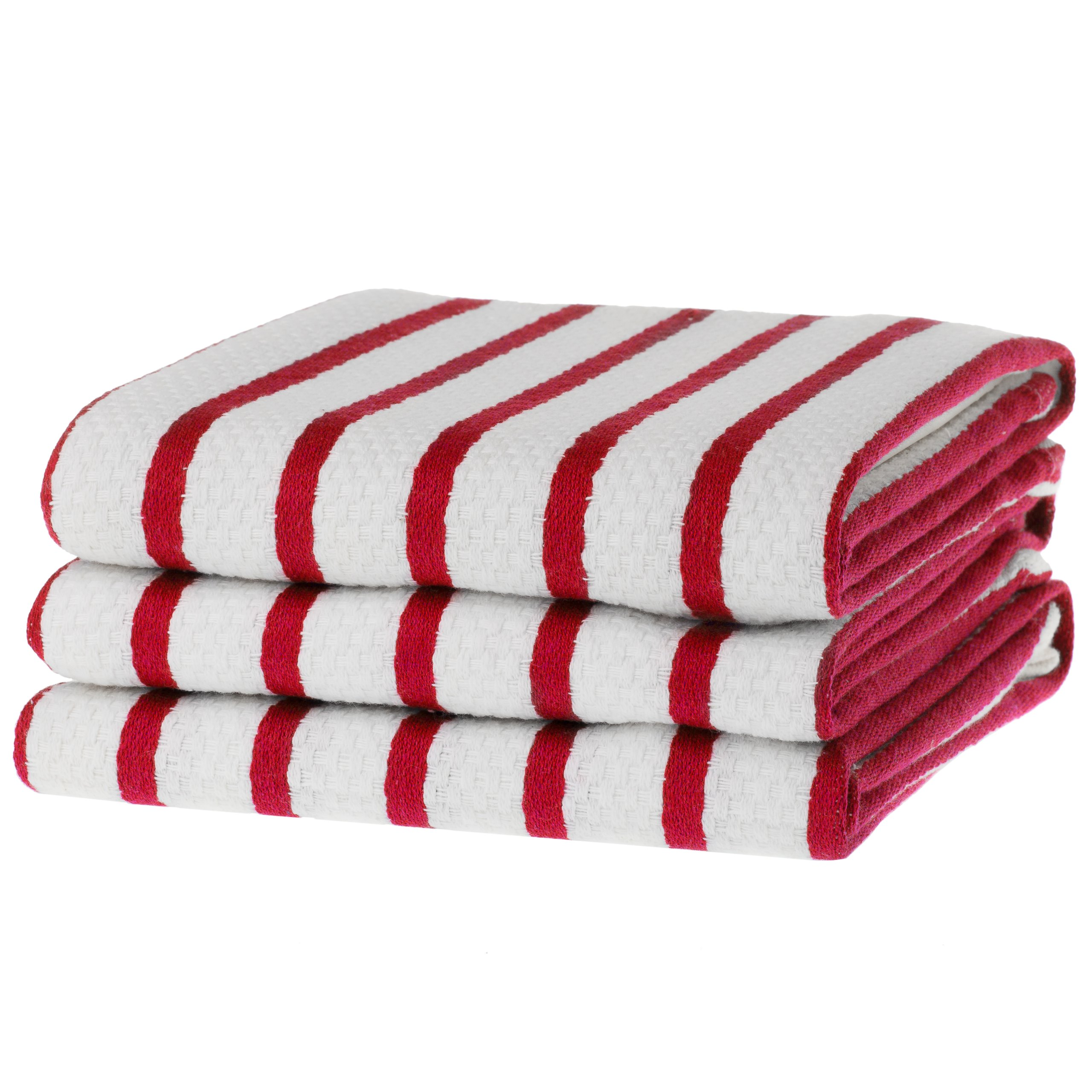 KAF Home Basket Weave Kitchen Towels, White with Red Stripes, Set of 3, 100% Cotton, Over-sized & Super Absorbent