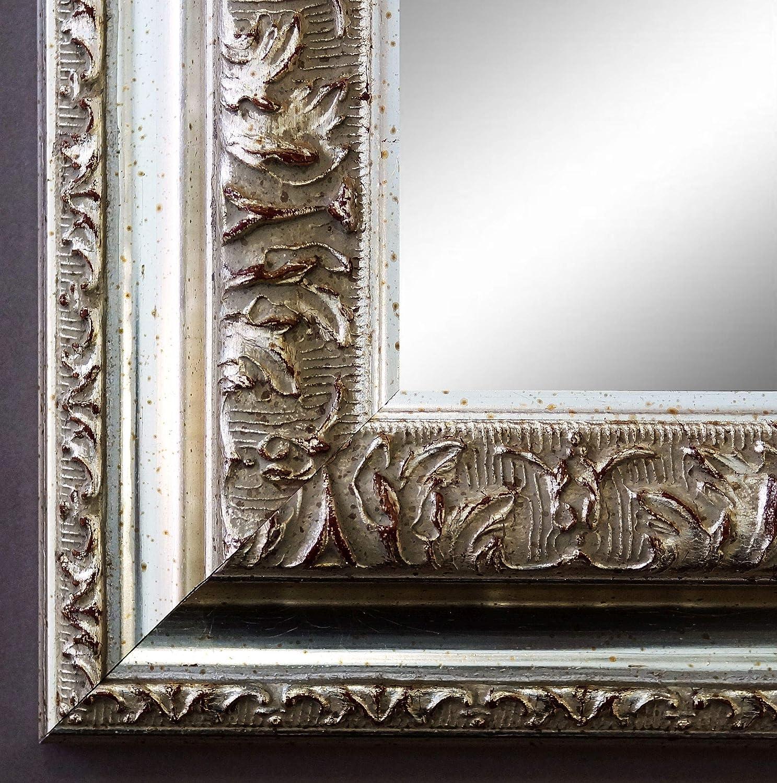 Online Galerie Bingold Spiegel Wandspiegel Badspiegel Flurspiegel Garderobenspiegel - Über 200 Größen - Rom Silber 6,5 - Außenmaß des Spiegels 80 x 100 - Wunschmaße auf Anfrage - Antik, Barock