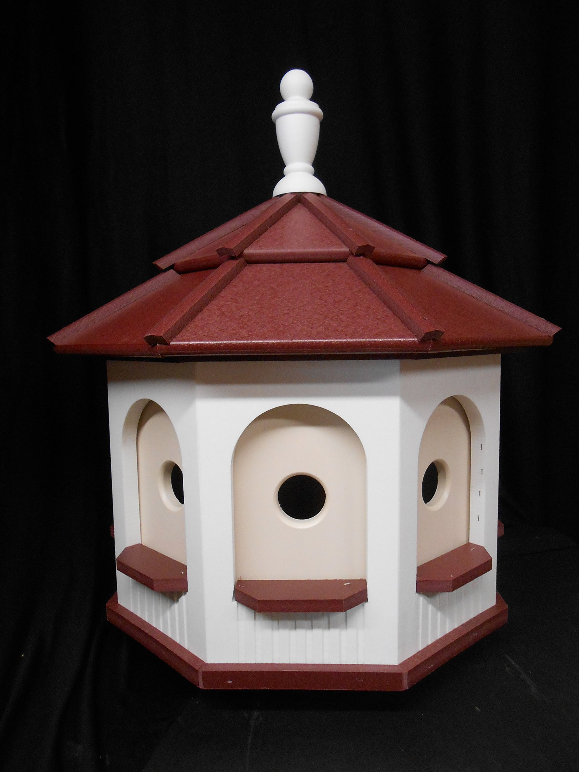 Amish homemade handcrafted Handmade Poly Gazebo Birdhouse yard White & Red Large