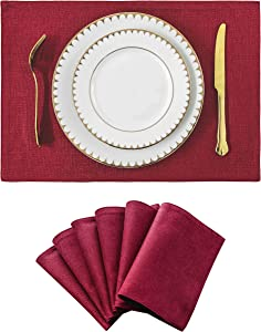 Home Brilliant Christmas Decorations Set of 6 Placemats Heat Resistant Dining Table Place Mats Kitchen Table Mats, Burgundy