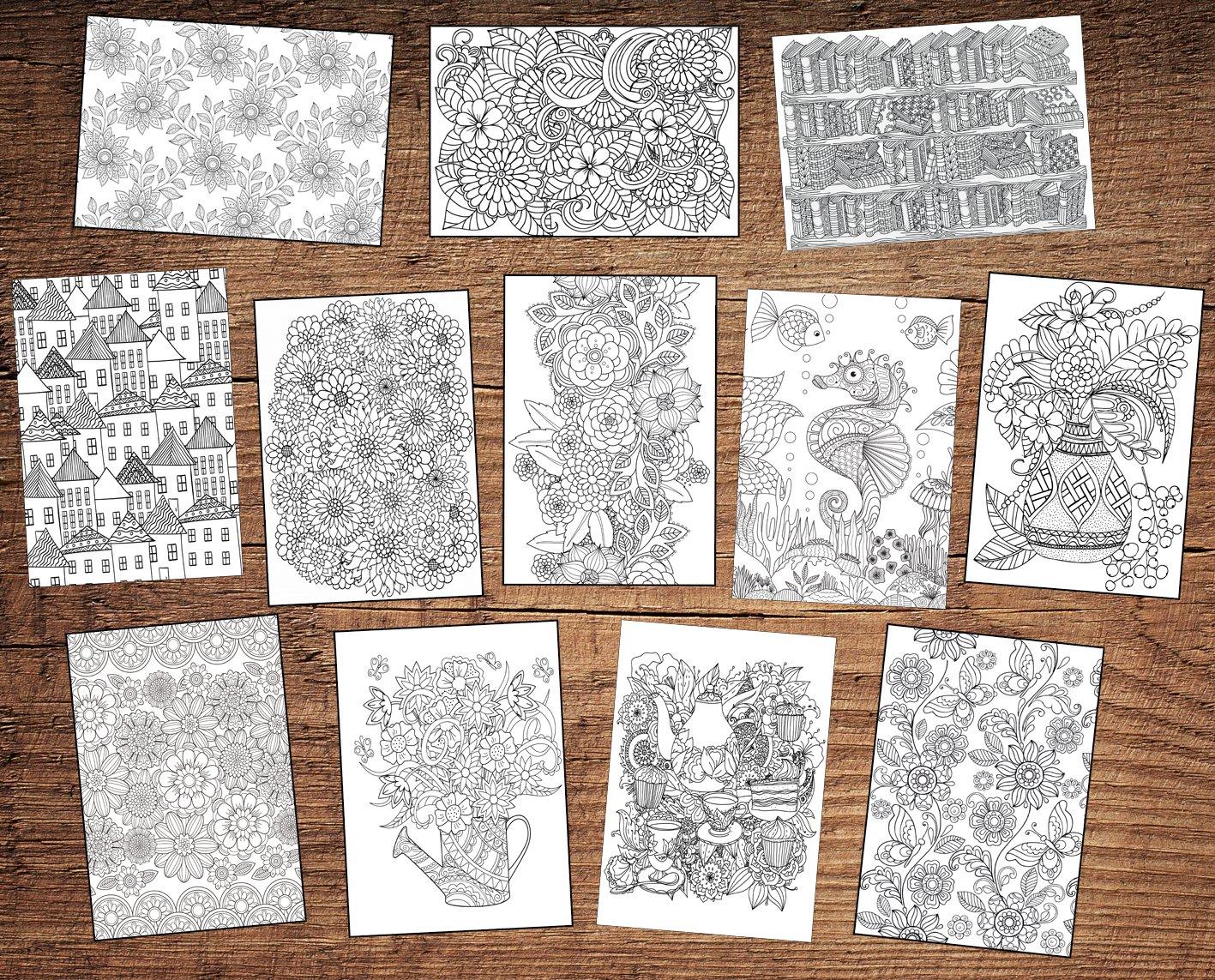 12 tarjetas de felicitación de cumpleaños para colorear para adultos ...