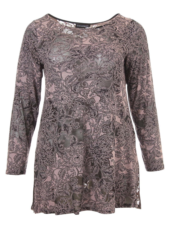 Langarmshirt mit Spitze in schwarz/rosé in Übergrößen (42, 44, 48, 50, 52) von Doris Streich