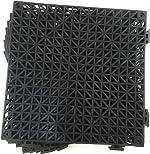 Set of 9 Interlocking Black Floor Tiles- 11.5 inches Each Side