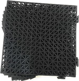 Set of 9 Interlocking Black Floor Tiles- 11.5 inches Each Side - Non-Slip Tread - Wet Areas Like Pool Shower Locker-Room Bathroom Deck Patio Garage Boat. Can be Cut to fit - FoghornConstruction